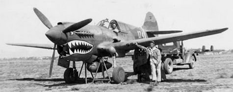 P-40 Warhawk in China with its Flying Tiger nose art