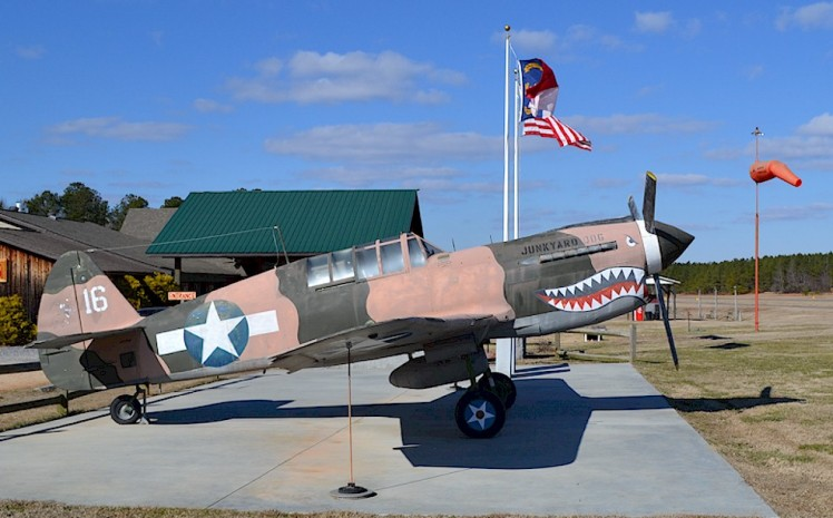 P-40 Flying Tiger model outside the Pik-N-Pig at Gilliam-McConnell Airport in Carthage, NC